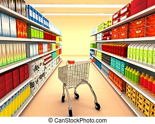 Supermarket 3d rendered image