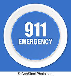 number emergency 911 blue flat design modern web icon