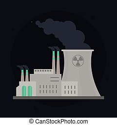 nuclear plant in colorful design, vector illustration -...