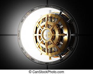 bank door vault 3d - bank vault door 3d view from safety...