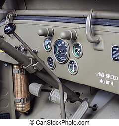 Dashboard detail of an old military jeep. - Dashboard detail...
