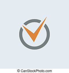 Gray-orange Check Mark Round Icon - Gray-orange check mark...