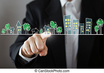 Businessman choosing house, real estate concept. Hand...