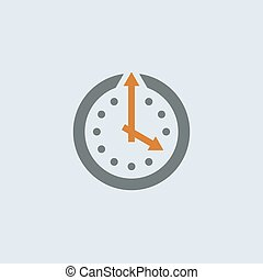 Gray-orange Clock Round Icon - Gray-orange wall clock with...