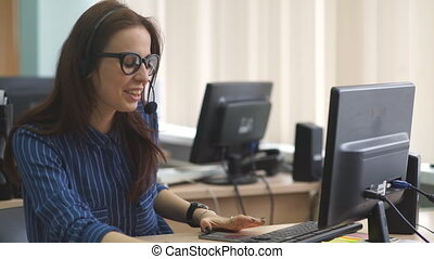 Customer service team woman call center smiling operator...