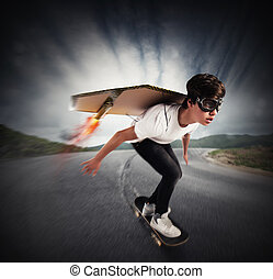 Quickly skate - Boy goes on skate with cardboard wings