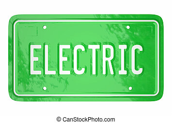Electric Car License Plate Automotive Green Technology 3d...
