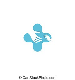 Isolated blue and white vector hands logo. Orphanage emblem....