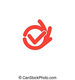Vector isolated unusual logo. Good job. All perfectly. All OK. Well done. Fingers hands shows OK. Great. Its OK. Suit. Checked. Good. Symbol. Red color design element on white background.