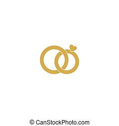 Wedding logo.Gold wedding rings.Stylized engagement...
