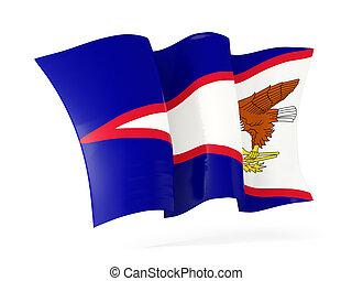 ondeggiare, bandiera, di, americano, samoa., 3D,...