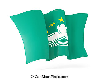 Waving flag of macao 3D illustration - Waving flag of macao...