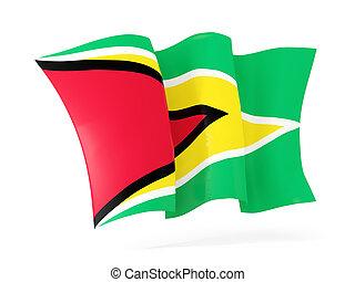 Waving flag of guyana 3D illustration - Waving flag of...