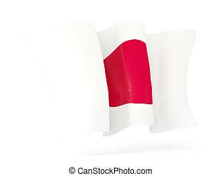 waving, bandeira, de, japan., 3D, Ilustração,