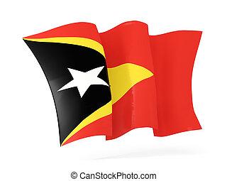 Waving flag of east timor 3D illustration - Waving flag of...