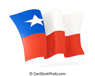 Waving flag of chile 3D illustration - Waving flag of chile...