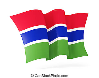 Waving flag of gambia 3D illustration - Waving flag of...