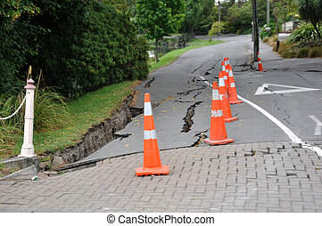 typical road damage near the Avon River from the 6.4...