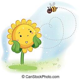 Mascot Sunflower Enjoy Bee