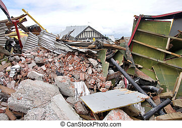 earthquake rubble - Rubble piled up from the 7.1 magnitude...