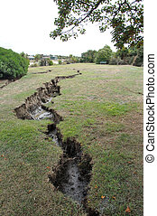 open ground - Damage to parkland by the Avon River from the...