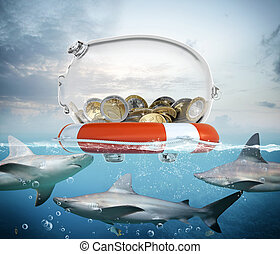 Lifebelt for money - Lifebelt with piggybank and big sharks...