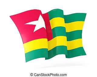 Waving flag of togo 3D illustration - Waving flag of togo...