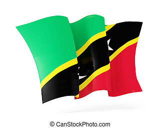 Waving flag of saint kitts and nevis. 3D illustration
