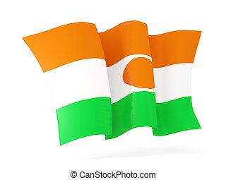 Waving flag of niger 3D illustration - Waving flag of niger...