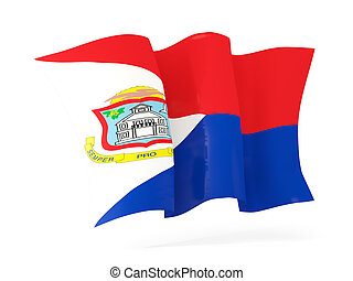 Waving flag of sint maarten 3D illustration - Waving flag of...