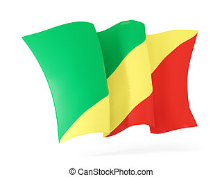 Waving flag of republic of the congo 3D illustration -...