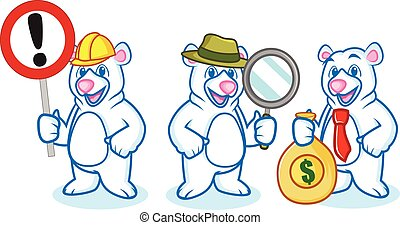 Polar Bear Mascot with sign, money and magnifying