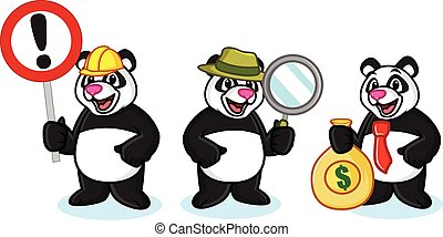 Panda Mascot Vector with money