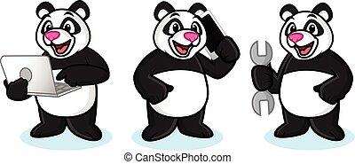 Panda Mascot Vector with laptop
