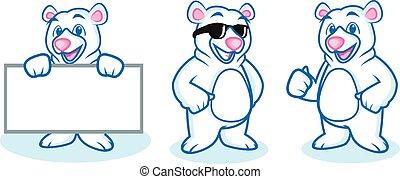 Polar Bear Mascot happy, pose and bring board