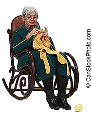 Old woman knitting - Image of an old woman sitting on a...