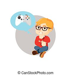 Boy thinking about playing game