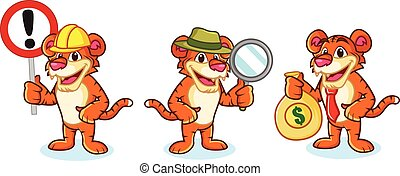 Tiger Mascot Vector with money