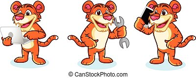 Tiger Mascot Vector with laptop