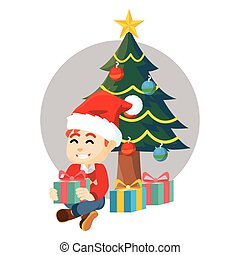 Boy open gift with christmass tree