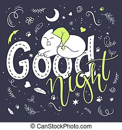 vector illustration of hand lettering text - good night. There is cute fluffy cats, surrounded with curly, swirly, paw print, bird and feather shapes