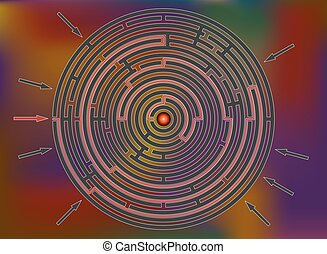 Reaching the goal in labyrinth, colorful rainbow - Reaching...