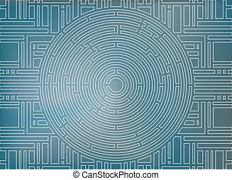 Circular labyrinth background, white and blue, high-tech