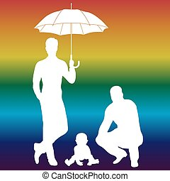 Vector illustration of gay family - Vector illustration of...