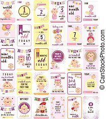 Baby Girl Milestone Cards