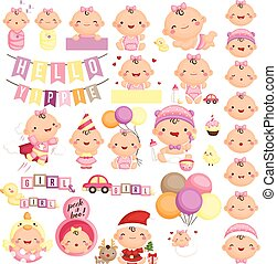 Baby Girl Milestone Vector Set