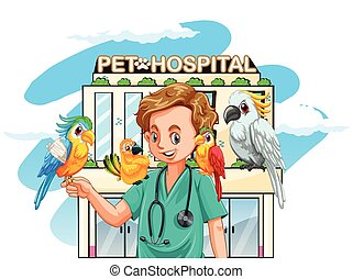 Vet and parrots at the hospital