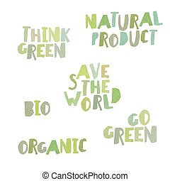 Think green, Natural product, save the world, bio, organic, go green. Leaf Cut Alphabet.