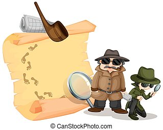 Detectives looking for clues illustration