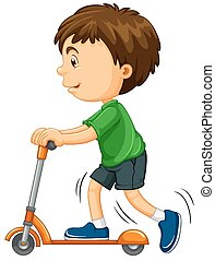 Boy riding on scooter